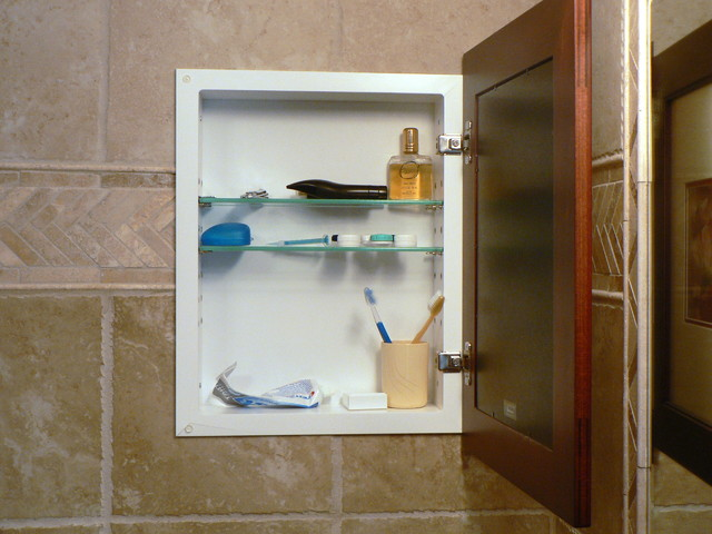 Unique Mirrored Medicine Cabinet With Glass Shelving