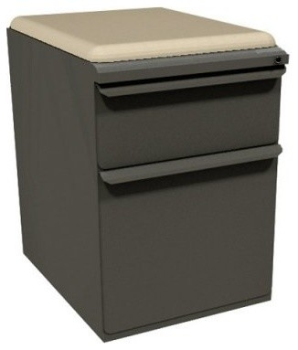 Mobile Pedestal with Flax Fabric Seat and File Drawer / Storage Drawer - 19 in. - Modern ...
