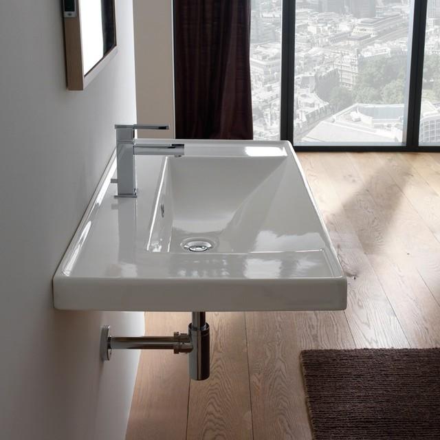 Wall Mounted Rectangular Sink : Wide Rectangular Modern Self Rimming or Wall Mounted Ceramic Sink ...