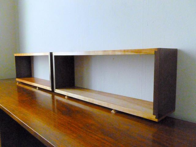 Simple Elegant Walnut & Cherry Wall Shelf Box Open Back ...