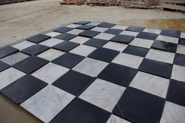 Antique Black And White Marble Spanish Monastery Tiles Mediterranean Wall
