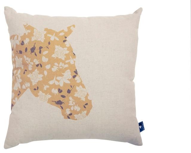 Floral Horse Cushion Cover contemporary-decorative-pillows