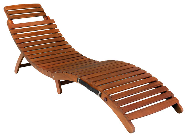 Chaise Lounger Wood Deck Patio Chair Poolside Outdoor