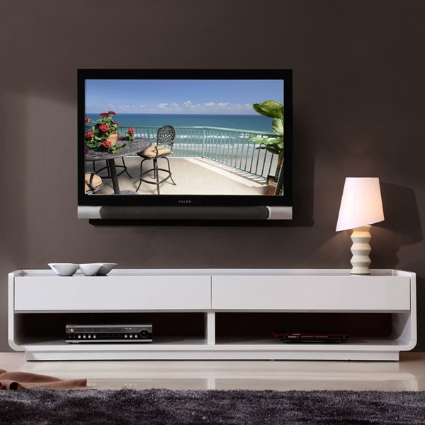 B Modern Designer Tv Console In White Traditional