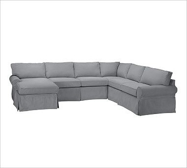 PB Basic Slipcovered Sectional Right 4-Piece Sectional Slipcover, Box Cushion, E traditional-sectional-sofas