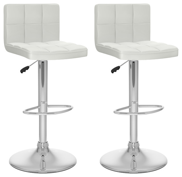 High Back Adjustable Bar Stool White Leatherette Set Of 2 Contemporary