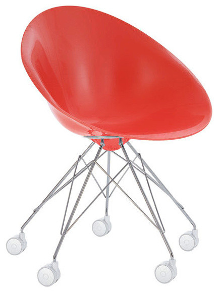Eros Chair, Casters, Opaque Red modern-chairs