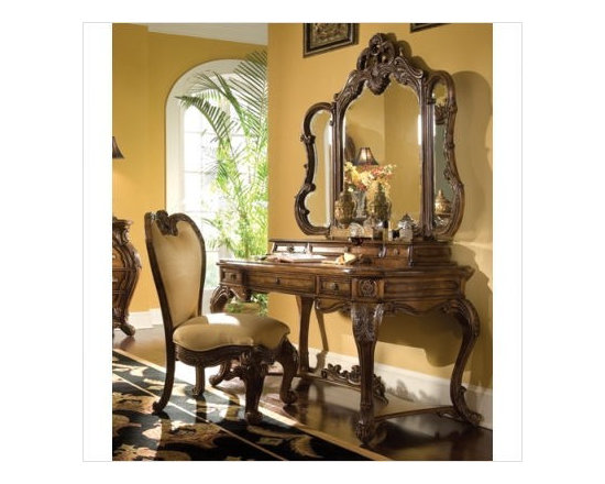 AICO Furniture - Palais Royale Vanity Set in Rococo Cognac - 71277-71257-SET - Set Includes Writing Desk, Mirror, Drawers, and Chair