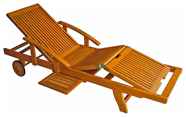 Royal Tahiti Yellow Balau Wood Large Chaise Lounge - contemporary ...