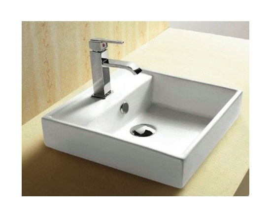 "Caracalla - Stylish Square Self Rimming White Ceramic Bathroom Sink - This beautiful bathroom sink is designed in Italy by Caracalla and is made out of high quality porcelain in a white finish. The contemporary self rimming sink includes overflow and comes with a single faucet hole. Sink dimensions: 15.35"" (width), 5.51"" (height), 15.35"" (depth)"