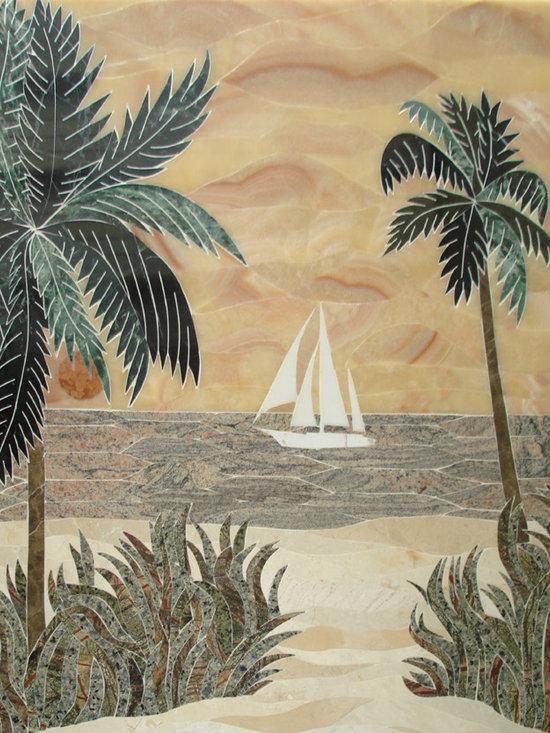 Boat on ocean marble mural -