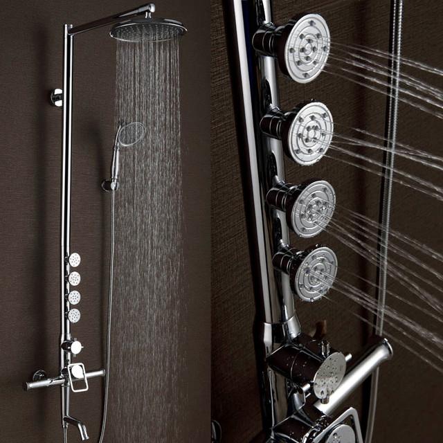 modern chrome shower system with 4 body sprays modern