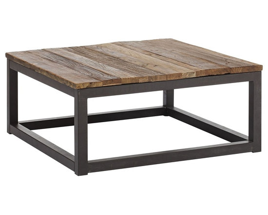 "Zuo - Zuo Civic Center Distressed Wood Square Coffee Table - Industrial style square coffee table. Distressed solid elm wood. Long and thick elm wood planks are fused together to create the authentic top. Antiqued metal base and accents. A chic addition to your home from Zuo Modern. 33"" wide. 33"" deep. 14 3/4"" high. Some assembly required.     Industrial style square coffee table.  Distressed solid elm wood.  Long and thick elm wood planks are fused together to create the authentic top.  Antiqued metal base and accents.  A chic addition to your home from Zuo Modern.  33"" wide.  33"" deep.  14 3/4"" high.  Some assembly required."