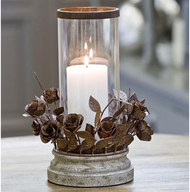 Regina Andrew Glass Pillar Candle Hurricane Traditional