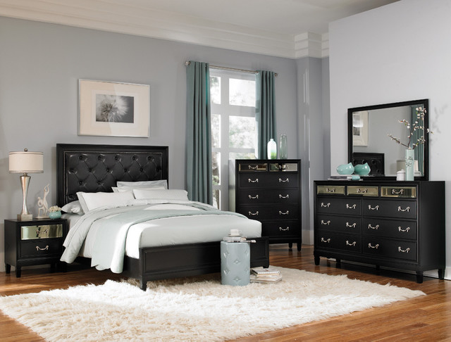 Devine 5Pc Eastern King Bedroom Set in Black Finish contemporary-beds