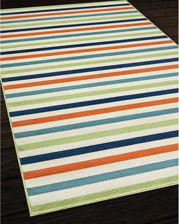multicolored rug, young place striped rug, striped rug