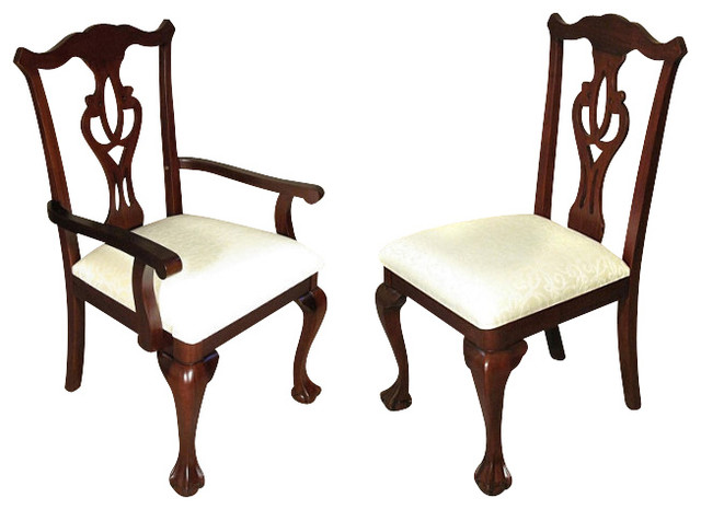 Dark cherry chippendale cream dining chairs traditional dining chairs