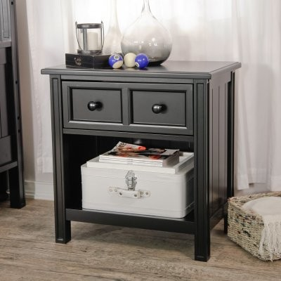 Casey 1 Drawer Nightstand - Black traditional-nightstands-and-bedside-tables