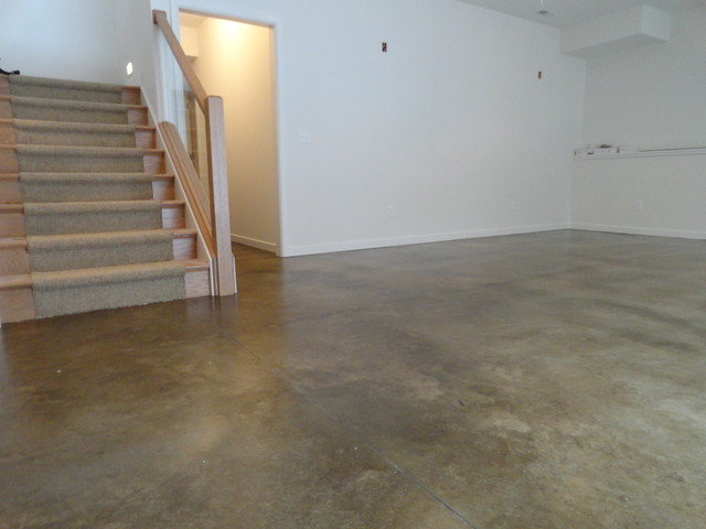 Stained concrete basement floor modern basement indianapolis by dancer concrete design - Cement basement floor ideas ...