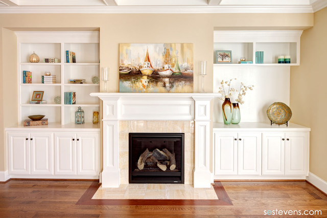 Living Room Fireplace And Built In Shelving Traditional