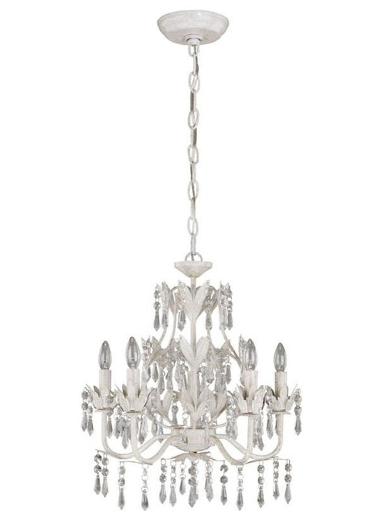 Joshua Marshal - White Crystal 5 Light Mini Chandelier From The Evelyn Collection - Finish: White