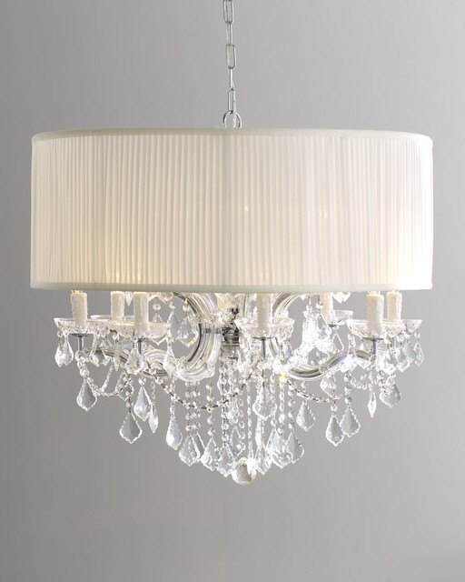 Large Brentwood Crystal Chandelier With Drum Shade