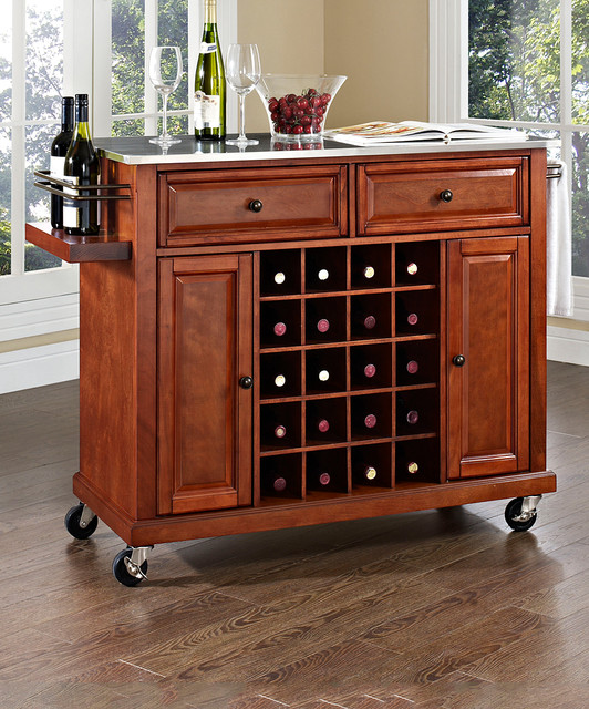 classic cherry stainless steel wine cart contemporary