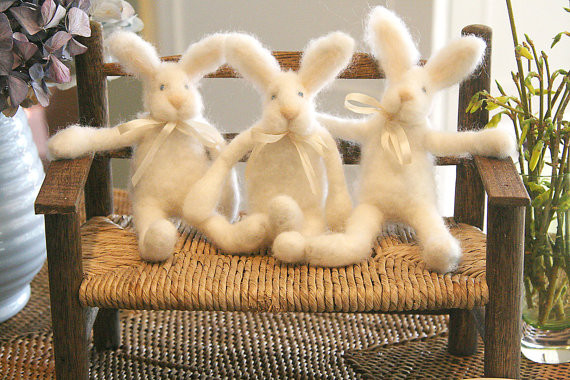 Felted Holdum Bunny Doll By Blue Heaven Studio contemporary-kids-toys-and-games