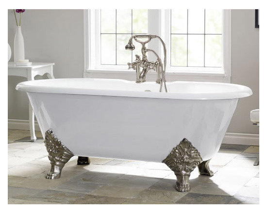 Carlton by Cheviot Cast Iron Clawfoot Tub - 70-inch Double Ended Style Clawfoot Tub with 7-inch Rim Drillings
