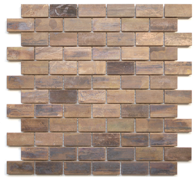 Eden Mosaic Tile Medium Brick Antique Copper Mosaic Tile Traditional Tile By Eden Mosaic Tile
