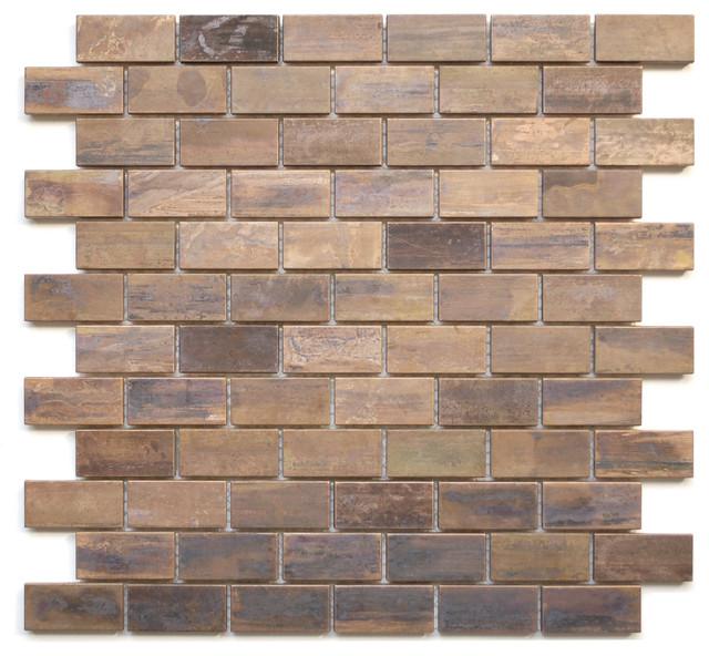 Medium Brick Antique Copper Mosaic Tile traditional-tile