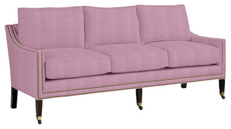 Griffin Sofa With Aged Brass Nailheads, Lilac Microfiber transitional-sofas