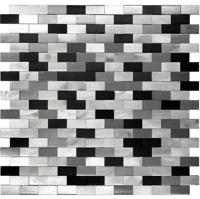 grey white and black bathrooms. misty black grey mix mosaic tile  3d metal aluminum kitchen Black And White Mosaic Tile Abstract Checkered