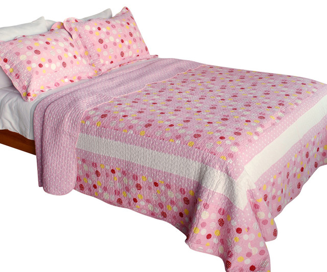 Candy Pink 100% Cotton 3PC Vermicelli-Quilted Patchwork Quilt Set  Full/Queen traditional-quilts-and-quilt-sets