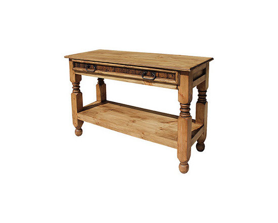 Rustic Pine Console Table - Great behind the sofa or in any narrow space, this pine table is beautiful and functional. Its single, wide beveled-front drawer offers lots of storage. A thick shelf below and turned wooden legs complete its southwestern flair.