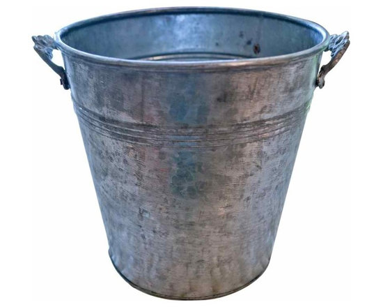 Galvanized Flower Bucket - Vintage French flower bucket with decorative floral handles. Use it for fresh cut flowers or fill with ice and a bottle of champagne.