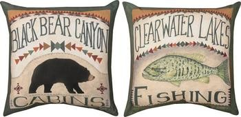 Pair of 'Black Bear Canyon' Cabins / Fishing Reversible Throw Pillows contemporary-decorative-pillows