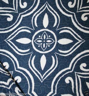 Tahari Navy White Quilt Set King Moroccan Nautical Beach Geometric Indigo | eBay - by ...
