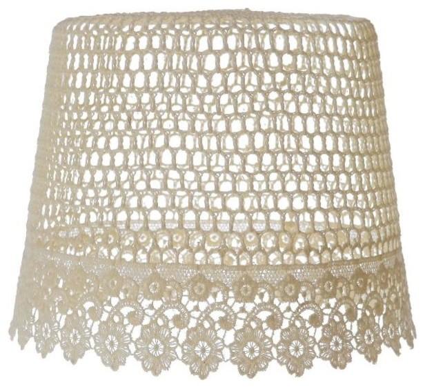 crochet knit ceiling light lamp shade cream beach. Black Bedroom Furniture Sets. Home Design Ideas