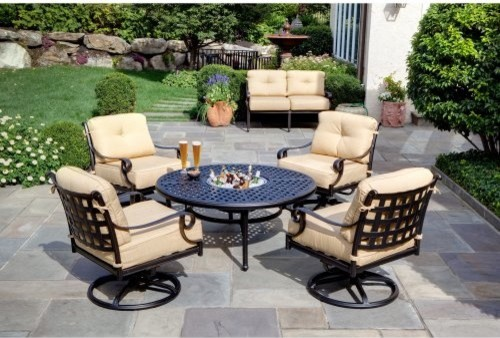 Alfresco Home Chateau Fire Pit Chat Set Contemporary Patio Furniture And