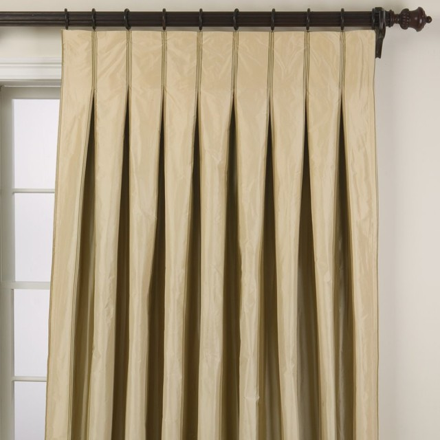 Taffeta stripe inverted pleat panel traditional curtains