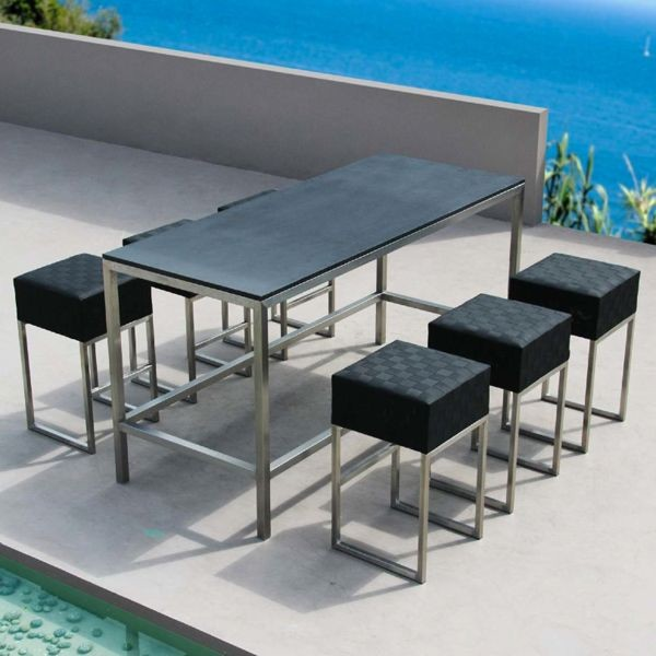 Bar Height Patio Table And Stools Outdoor Pub Bistro