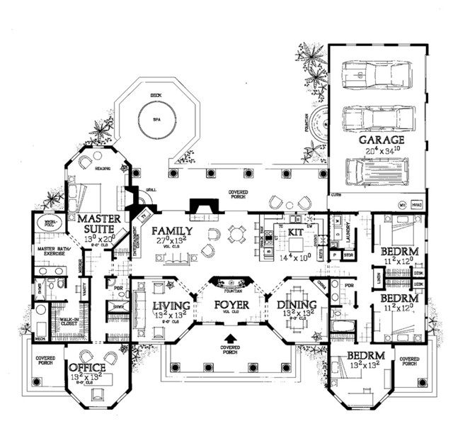 One Story Mediterranean Floor Plan