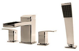 Pfister RT6-4DFK Brushed Nickel Kenzo Kenzo Deck Mounted Roman Tub contemporary-kitchen-faucets
