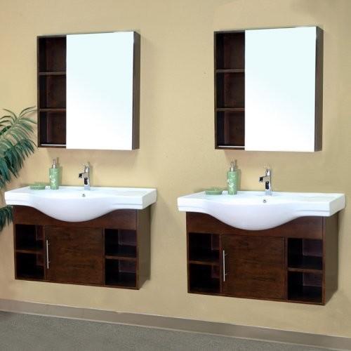 Bellaterra Sassari 79.6-in. Medium Walnut Double Bathroom Vanity with Optional M contemporary-bathroom-vanities-and-sink-consoles