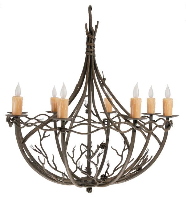Pine Woodland Brown 8 Light Chandelier - Rustic - Chandeliers - by Littman Bros Lighting