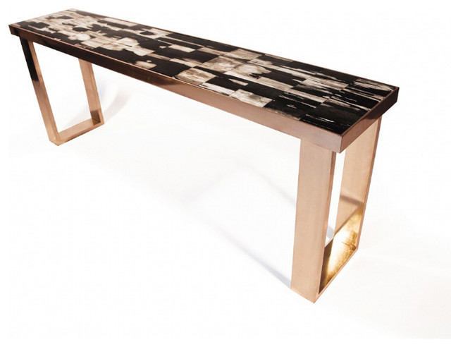 Petrified Wood Console modern-side-tables-and-end-tables