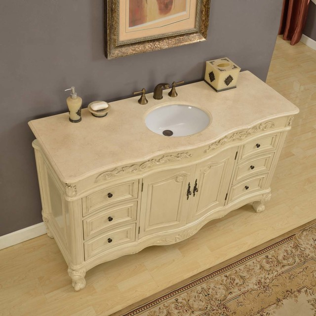 Silkroad Exclusive 60 Inch Cream Marfil Marble Stone Top