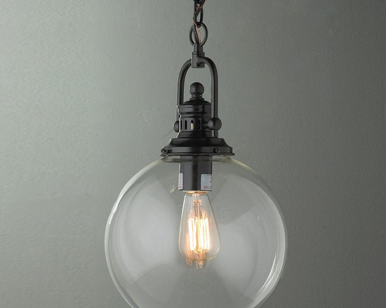Clear Glass Globe Industrial Pendant -