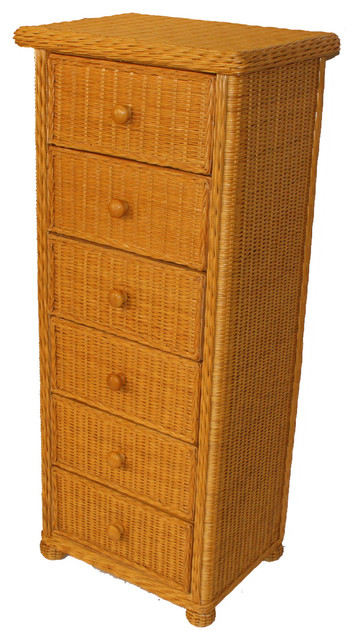 6 Drawer Wicker Lingerie Chest tropical-furniture